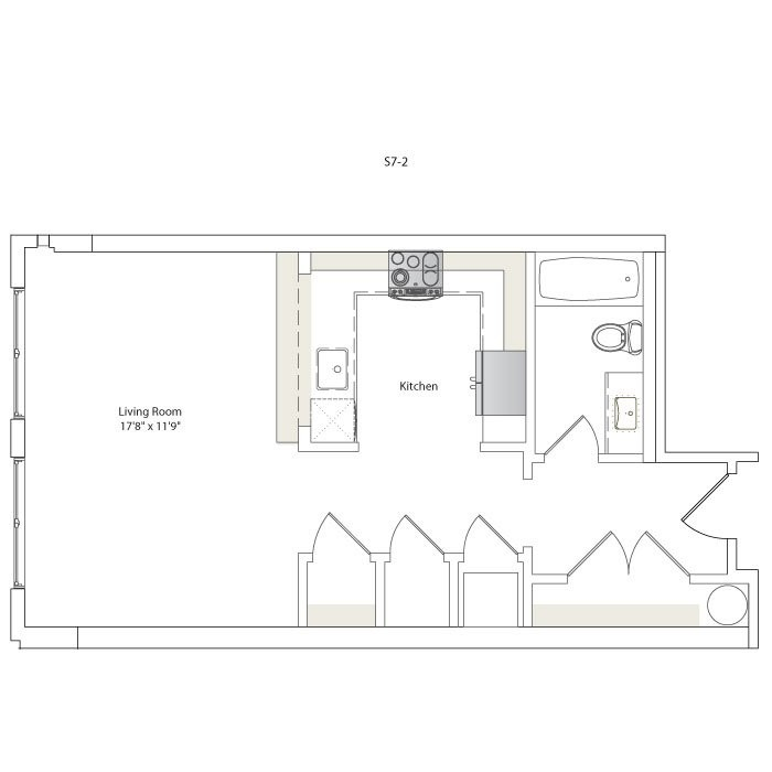 523 sq. ft. S7-2 floor plan