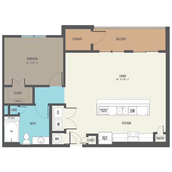 915 sq. ft. A10 floor plan
