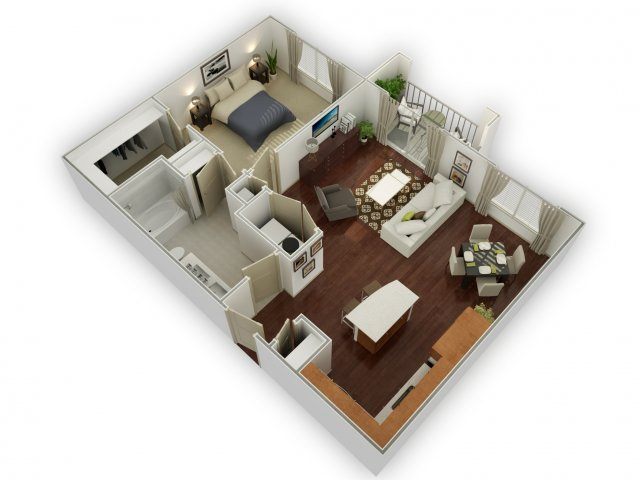 882 sq. ft. A3 floor plan