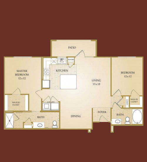 1,080 sq. ft. Whitney floor plan