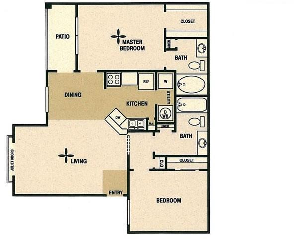 1,023 sq. ft. C floor plan