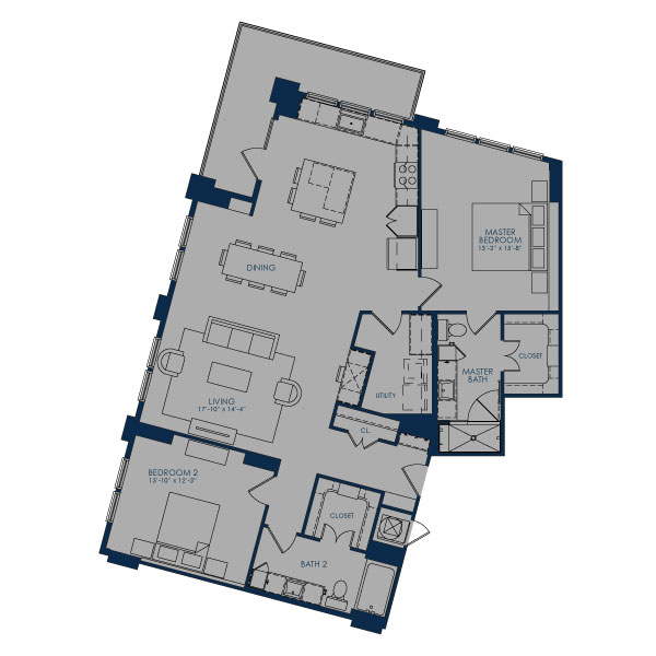1,529 sq. ft. B-OC floor plan
