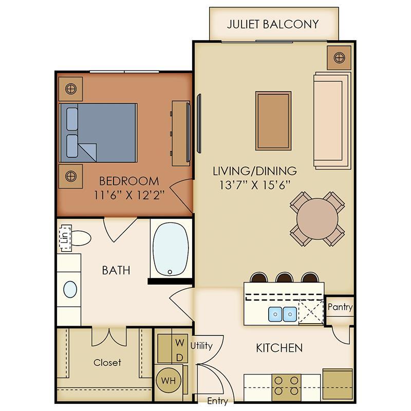 775 sq. ft. A7 floor plan
