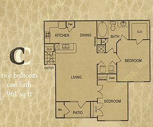 961 sq. ft. C floor plan