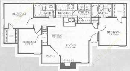1,050 sq. ft. 1C1 floor plan