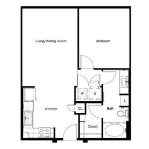 734 sq. ft. floor plan