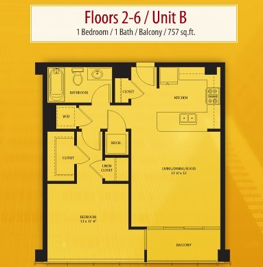757 sq. ft. B floor plan