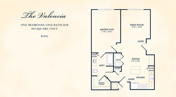 845 sq. ft. VALENCIA floor plan