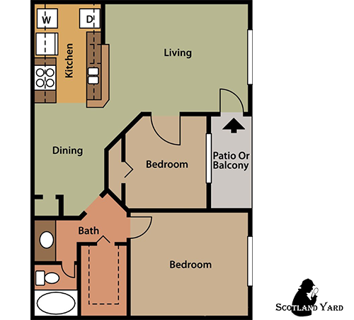 830 sq. ft. B2 floor plan