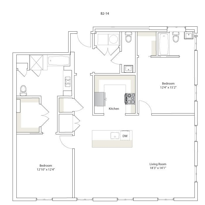 1,377 sq. ft. B2-13/B2-14 floor plan