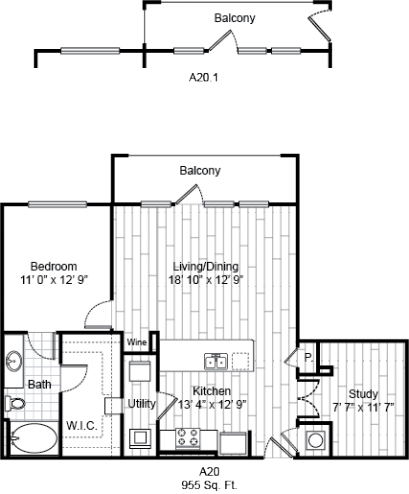 953 sq. ft. A20 floor plan