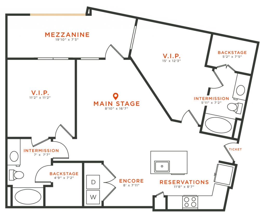 1,060 sq. ft. B7 floor plan