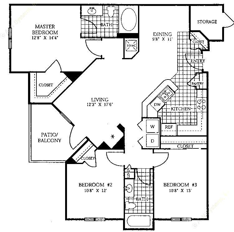 1,262 sq. ft. C1 floor plan