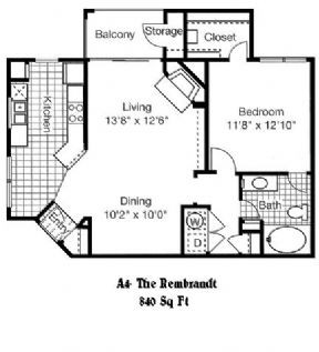 840 sq. ft. to 864 sq. ft. A4 floor plan