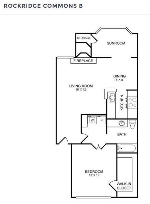 803 sq. ft. A2 floor plan