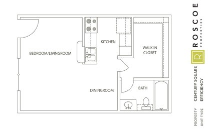 389 sq. ft. A floor plan