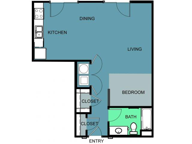 693 sq. ft. Morris floor plan