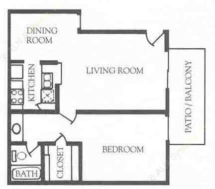 732 sq. ft. B floor plan