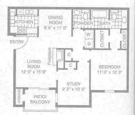 879 sq. ft. A-4 floor plan