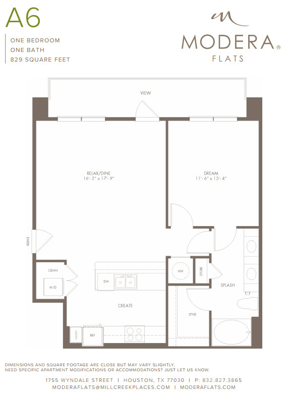 829 sq. ft. A6 floor plan