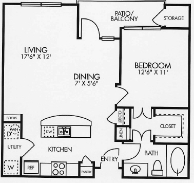783 sq. ft. A4BAL floor plan