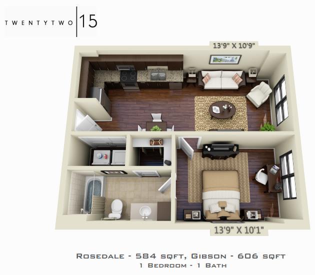 584 sq. ft. ROSEDALE floor plan