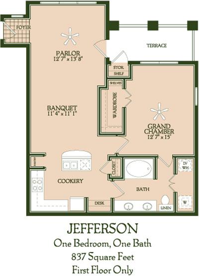 837 sq. ft. Jefferson floor plan