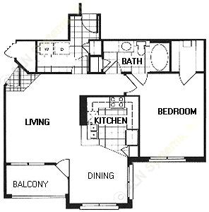 830 sq. ft. A3A/B/EVENSON floor plan