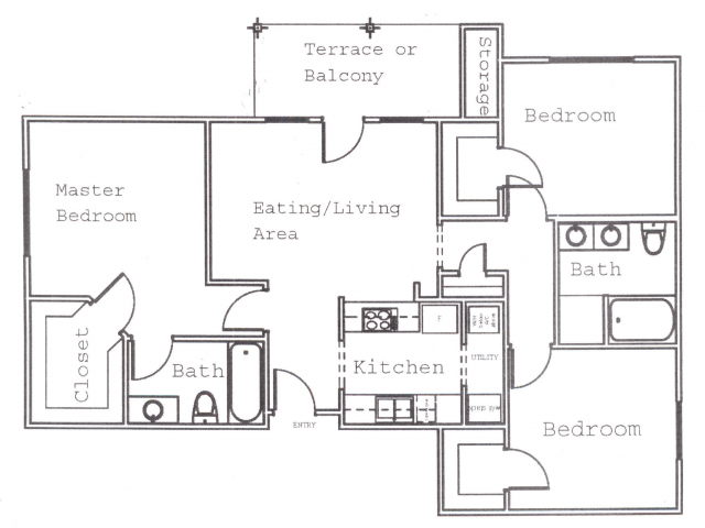 1,127 sq. ft. C1 floor plan