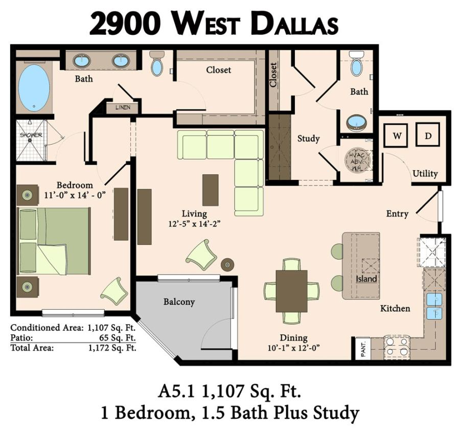 1,107 sq. ft. A5.1 floor plan