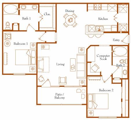1,255 sq. ft. Galaxy 22C floor plan