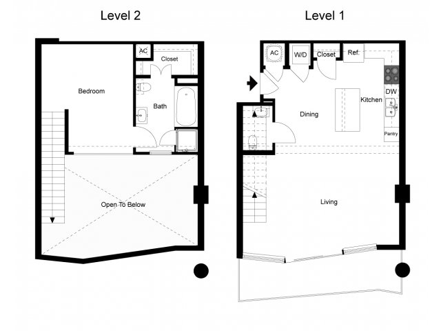 992 sq. ft. Loft 1E floor plan