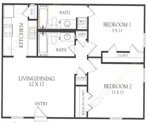 823 sq. ft. O floor plan