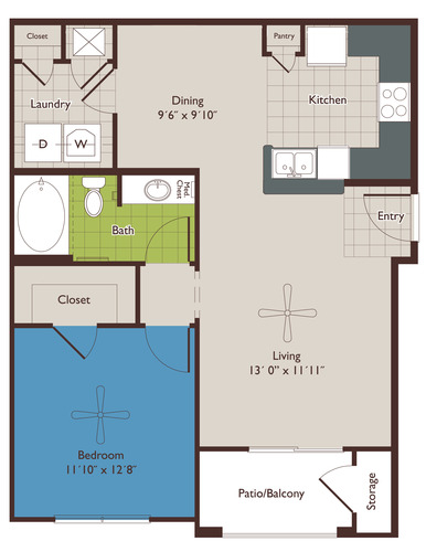 752 sq. ft. A1 floor plan