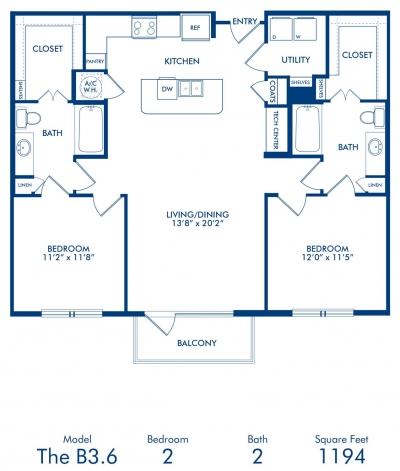 1,194 sq. ft. B3.6 floor plan