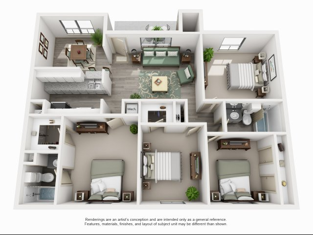 1,500 sq. ft. D1 floor plan