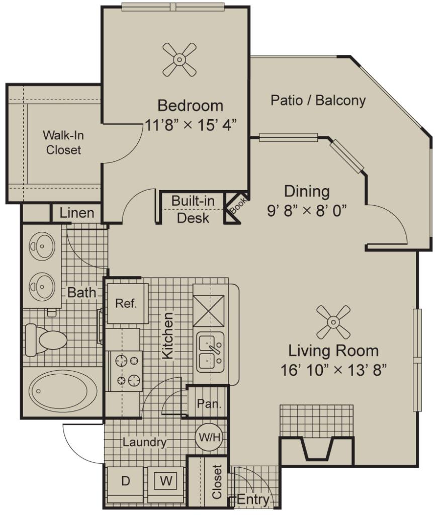 844 sq. ft. A3.1 floor plan