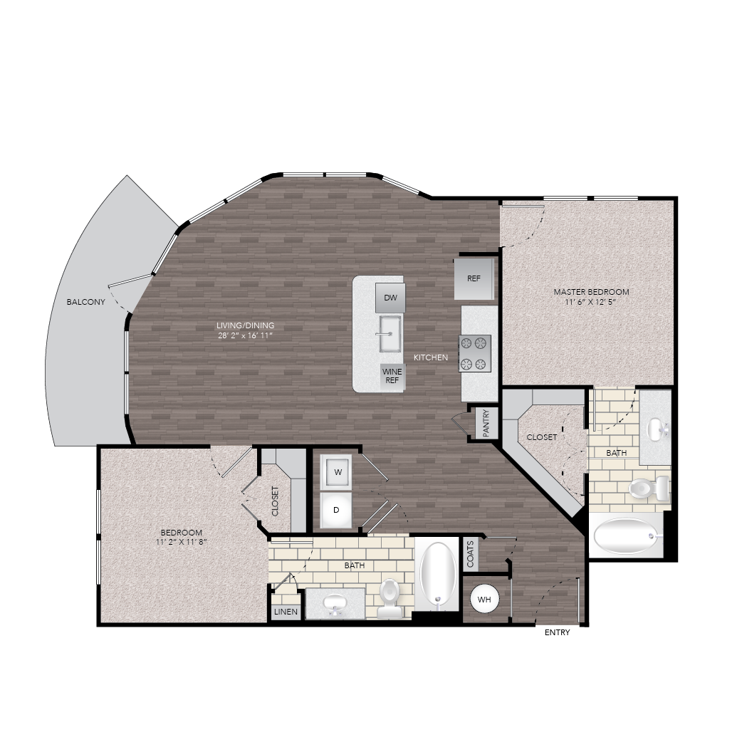 1,097 sq. ft. B6B floor plan