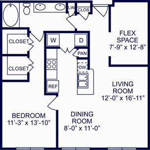 956 sq. ft. Oslo floor plan