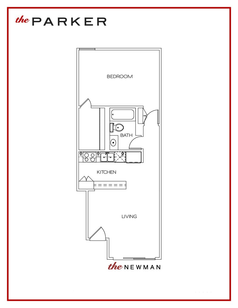 595 sq. ft. Newman floor plan