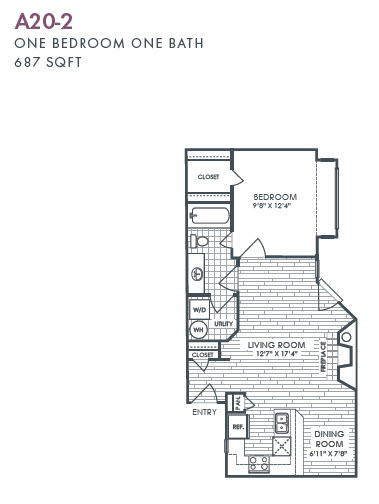 687 sq. ft. A20-2 floor plan
