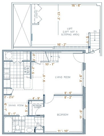 900 sq. ft. Sierra Lofts floor plan