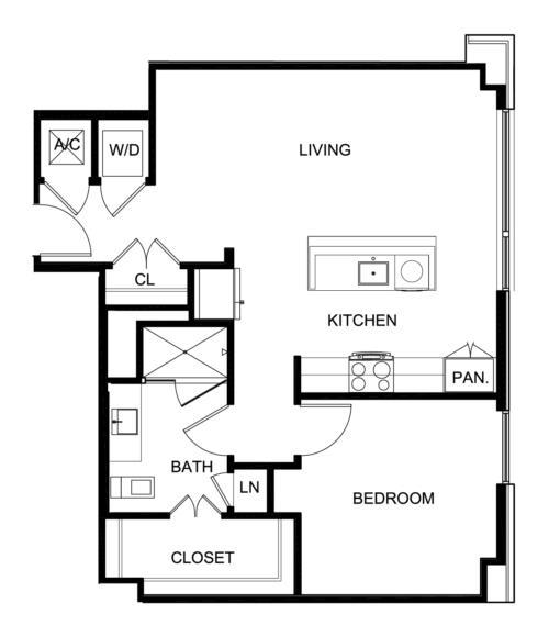 819 sq. ft. A5 floor plan