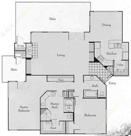 1,591 sq. ft. 2C floor plan