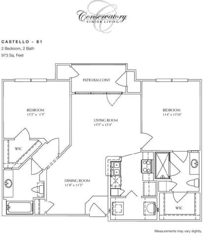 973 sq. ft. Castello floor plan