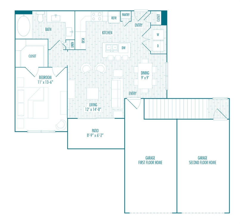871 sq. ft. BG-2 floor plan