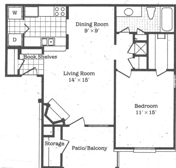 758 sq. ft. Sunray floor plan