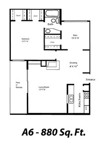 880 sq. ft. A6 floor plan