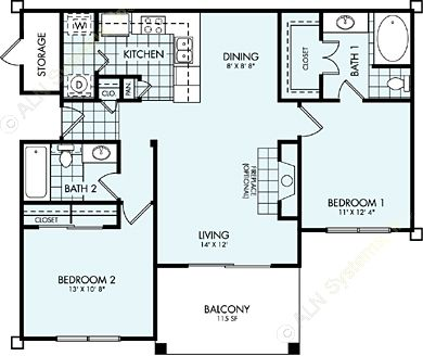 995 sq. ft. B1L floor plan