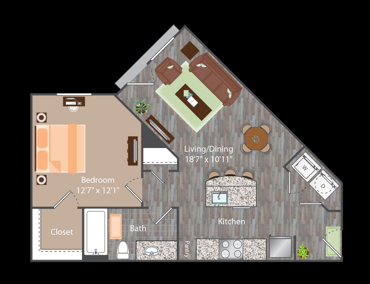 683 sq. ft. Madison floor plan